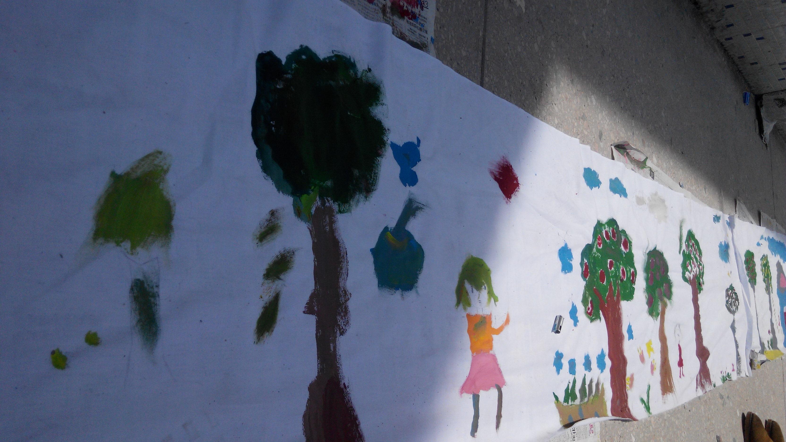 上饶镇全德小学学生的刚学的水彩画作品